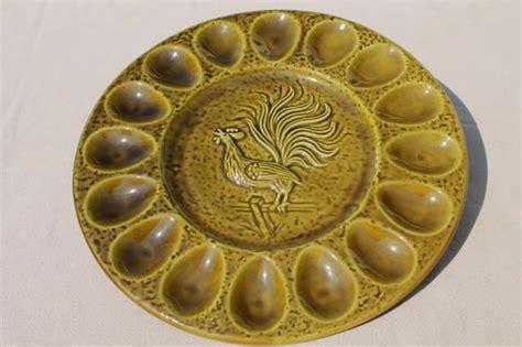 vintage ceramic egg plate, 60s 70s retro California