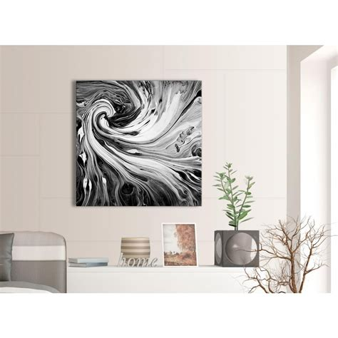 Abstract Black And White Wall by Black White Grey Swirls Modern Abstract Canvas Wall
