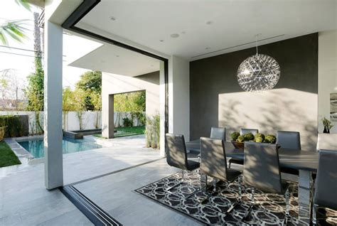 contemporary home  pool  black  white interior
