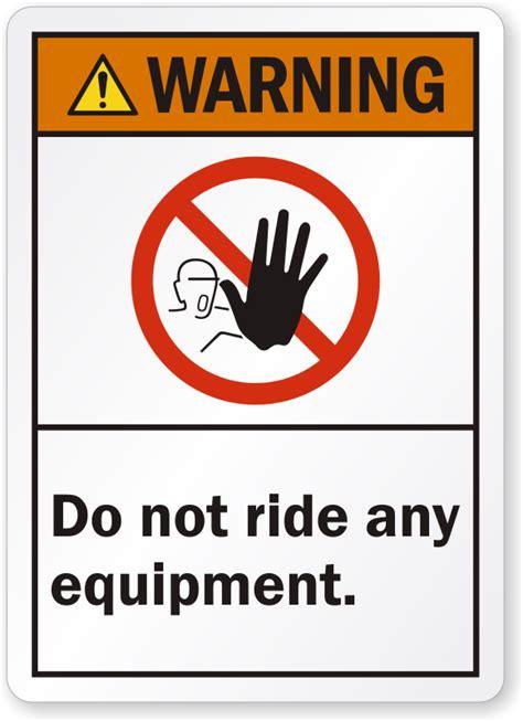ride  equipment ansi warning label sku lb