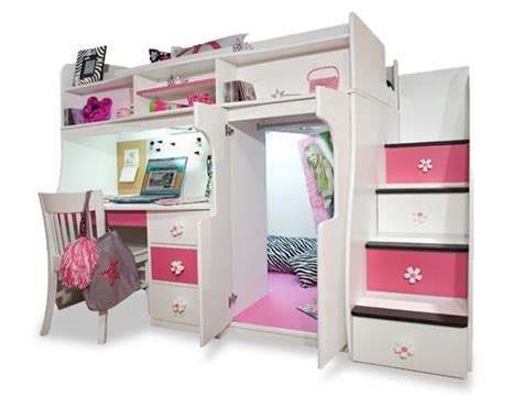 bunk bed with computer desk girls loft beds for teens berg furniture play and study