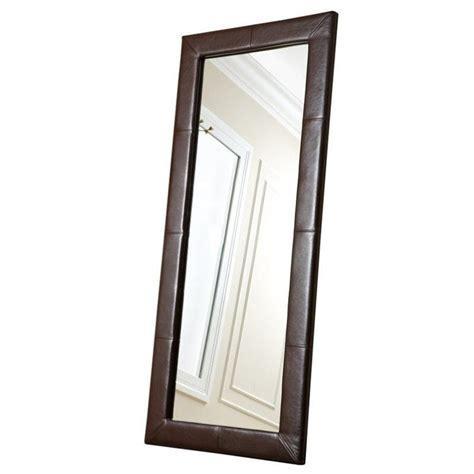 floor mirror brown abbyson living blaketon leather floor mirror in brown hs mir 300 brn