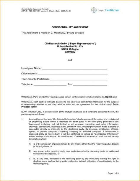 Confidentiality Agreement Template Confidentiality Agreement Sle Template Business