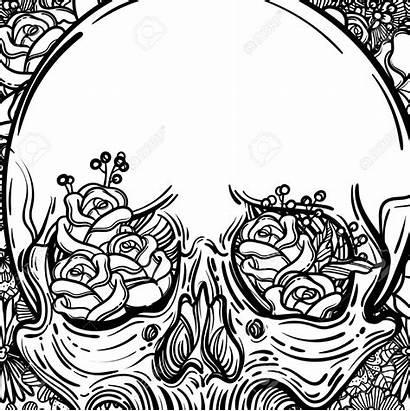 Flowers Spooky Drawing Scary Line Skull Getdrawings