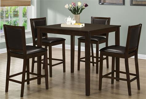 Walnut 5 Piece Counter Height Dining Room Set From Monarch