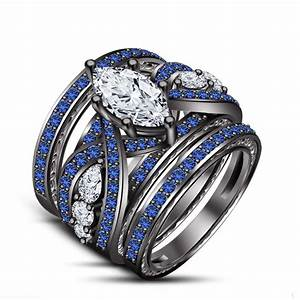 New blue sapphire wedding engagement ring set all size for Blue sapphire wedding ring set