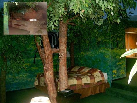 forest themed room forest king sized bed nestled