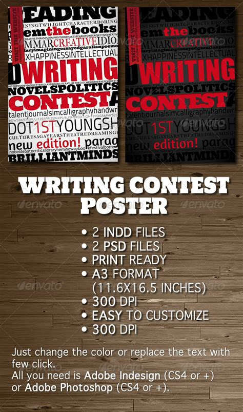 Writing Contest Poster  Flyer By Opendept Graphicriver