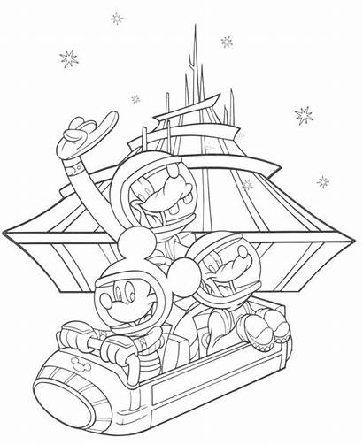 Coloring Pages Disney Parks Kingdom Mountain Space