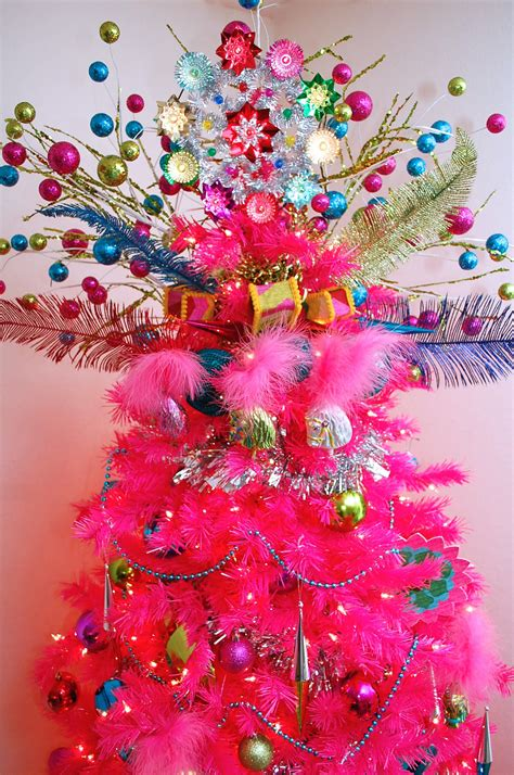 hot pink christmas tree  colorful tree topper pictures