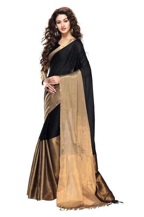 black and gold blouse buy black and gold color cotton saree with blouse