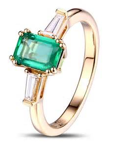 emerald gold engagement rings 1 carat emerald and trilogy engagement ring in yellow gold jewelocean