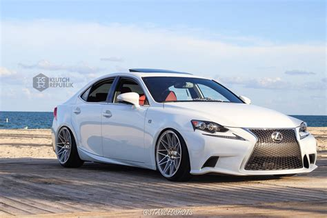 stanced lexus lexus is 250 350 on klutch wheels km20 silver 19x10