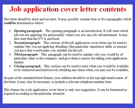 job application letter  october