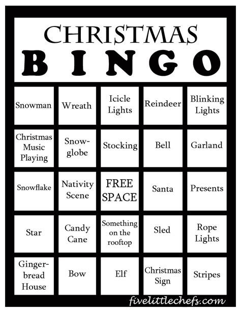 christmas bingo five little chefs