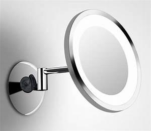 shaver led 2 miroir rond mural sur bras orientable par bpe With miroir grossissant mural pour salle de bain