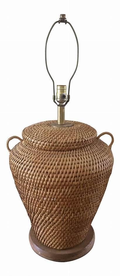 Basket Wicker Lamp Table Chairish