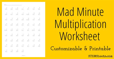 quickly customize and print mad minute multiplication