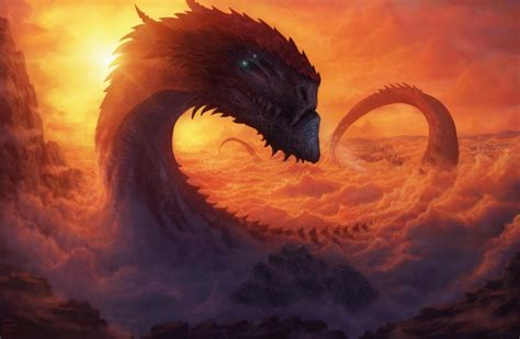 wallpaper giant dragon sky clouds sunset long tail