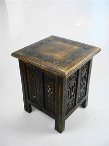 beautiful brown or white hand carved indian wooden table With indian carved coffee table