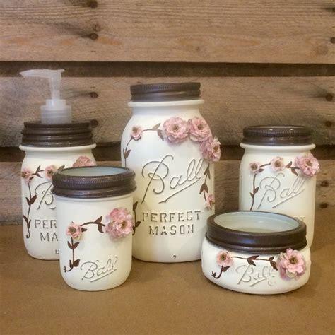 shabby chic ivory  rose vintage mason jar bathroom set