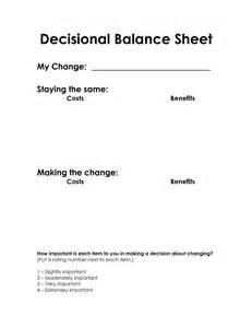 Motivational Interviewing Decisional Balance Worksheet