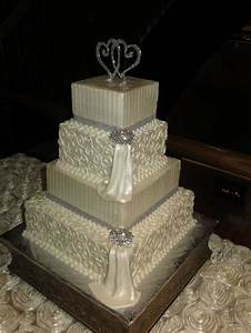 17 Best ideas about Ivory Square Wedding Cakes on ...