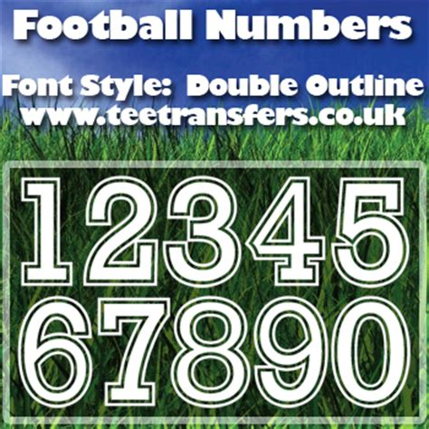 single football numbers double outline font iron  transfer