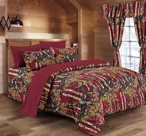 the woods deep beautiful burgandy camouflage queen 7pc