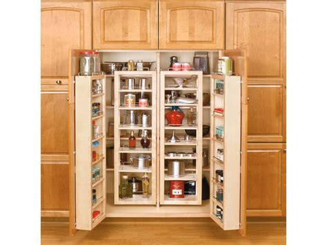Wooden shelves with doors, tall kitchen pantry cabinet