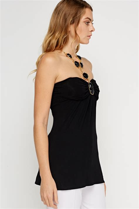 Halter Neck Bandeau Ruched Top   Black   Just £5