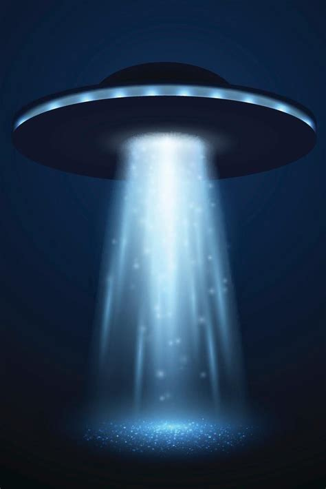 UFO Spaceship with Light Beam on Blue Background Art Print ...