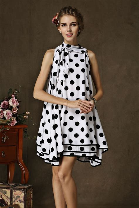 New Women's Loose Above Knee,mini Fashion Dress Elegant Big Swing Polka Dot Plus Put On A Large