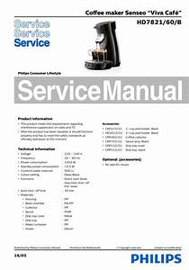 Philips Senseo Viva Cafe Hd7821 60 B Service Manual Free Download