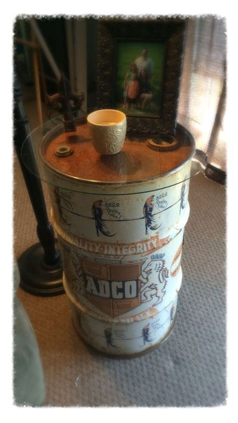 repurposed side table   oil drum