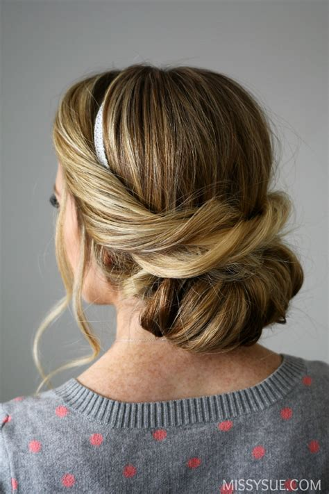 wrapped headband updo easy hairstyles
