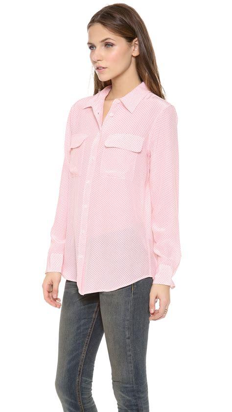 equipment slim signature blouse lyst equipment slim signature blouse in pink
