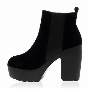 Schuhe Absatz Wechseln : damen schwarz klobiger absatz genagelt chelsea stiefeletten schuhe gr 36 41 ebay ~ Buech-reservation.com Haus und Dekorationen
