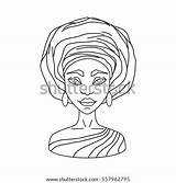 Woman Vector Outline Gele Coloring Contour Illustration African Shutterstock Turban sketch template