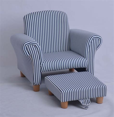 white navy striped armchair with footstool