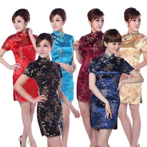 ! Lady Party Clothing Dragon Brocade Short Dress Traditional Chinese Clothing Qipao Cheongsam ...