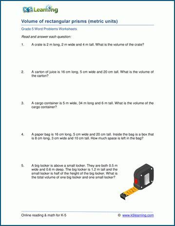 volume of rectangular prisms word problem worksheets k5