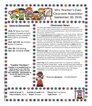 Free Newsletter Templates For Teachers by Classroom Newsletter Template 9 Free Word Pdf