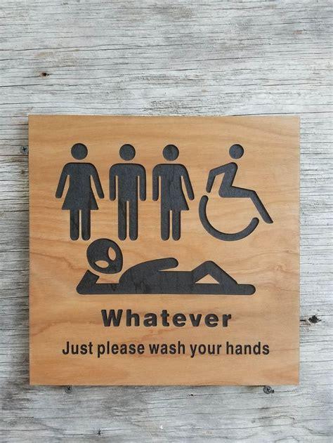 gender bathroom sign   wash  hands