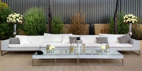 white wicker  seat couch outdoor furniture hire perth