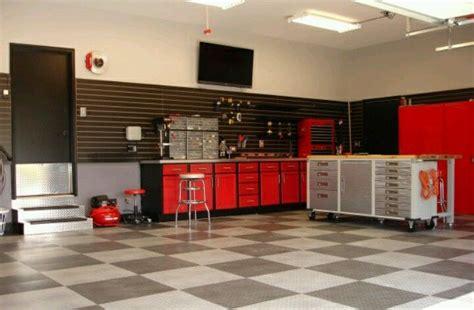 man cave garage red black gray color scheme garage