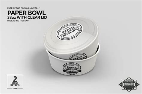 We made for you the best packaging mockups, box mockups. Paper Bowl with Clear Lids Mockup #scene#work#design# ...