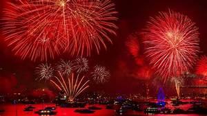 Red Fireworks Over The Bay HD Wallpaper Wallpaper Studio