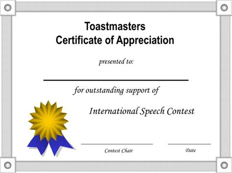 Speech Contest Certificate Template by Ppt Toastmasters Certificate Of Appreciation Powerpoint