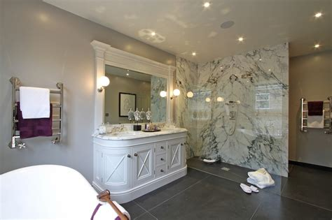 curved sink vanity transitional bathroom hayburn
